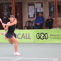 Tennis player going for the ball at 2018 Curro Junior ITF Grade 3 Quarter Finals