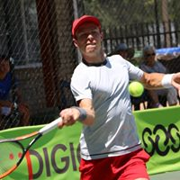 Tennis player hitting the ball at Digicall Futures 2 Quaterfinals